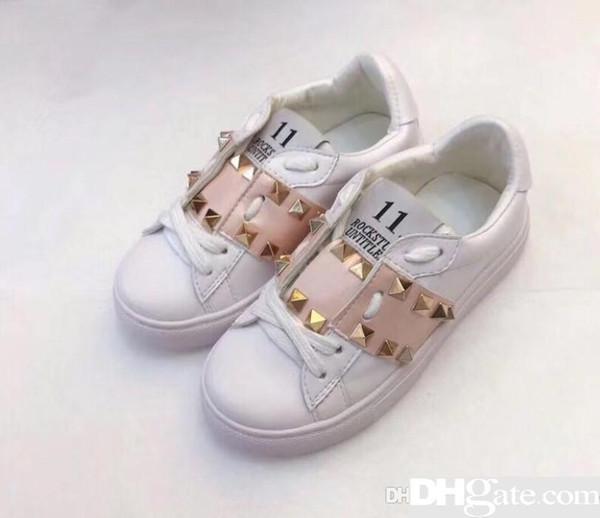 Genietete kleine weiße Schuhe Mädchen Leder Frühling 2019 Einzelne kleine schwarze Kinder Kinderschuhe aus reinem Leder z1