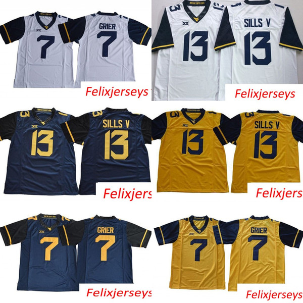 West Virginia Mountaineers 7 Will Grier 13 David Sills V WVU Blank White Blue Yellow Stitched XII College Football Jerseys
