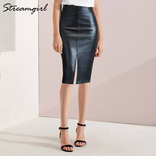 Black Leather Skirt Women Plus Size Midi Pu Pencil Skirts Womens Skirt With High Waist Office Leather Skirt Knee Length Female MX190731