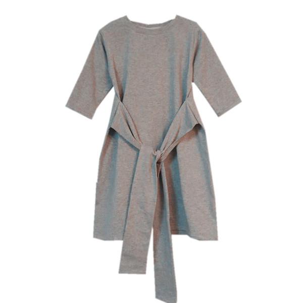 De 4 a 14 años, niños niñas adolescentes de media manga de algodón casual con cinturón vestido de flare niño moda primavera otoño fajas gris camiseta vestido