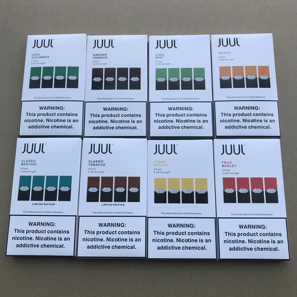 New Package 8 flavors JUU Pods mango Cool Mint fruit medley Cool Cucumber Creme Brulee 4 pod refillable pod cartridge vs eon pods
