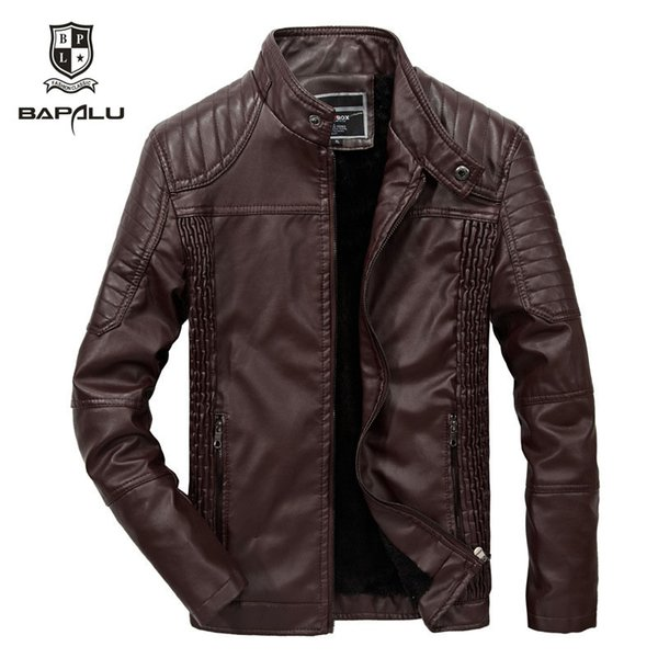 2019 Autumn Leather Jacket Men Casual Leather Jackets Mens Slim Thin Section Stand Motorcycle Lederjacke Herren Plus Velvet Warm Coat From Ppkk,