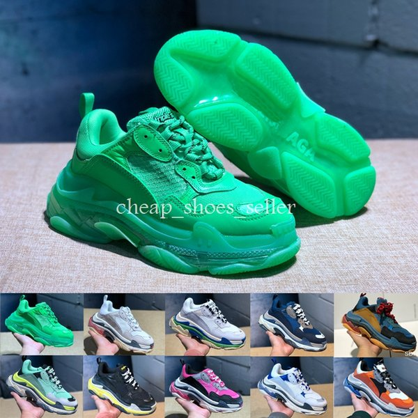 2019 Moda Paris 17FW Üçlü-S Sneaker Volt Yeşil Gri Üçlü S Rahat ayakkabılar Baba Ayakkabıları Erkekler \ 'nin Kadınlar için Bej Siyah Spor Tenis 35-45