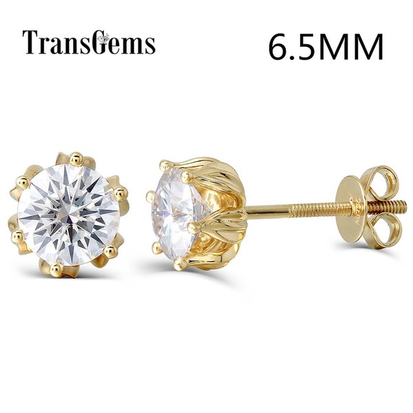 Transgems Flower Shaped 14k 585 Yellow Gold 2ctw 6.5mm Fgh Color Moissanite Diamond Stud Earrings For Women Screw Back For Women Y19032201