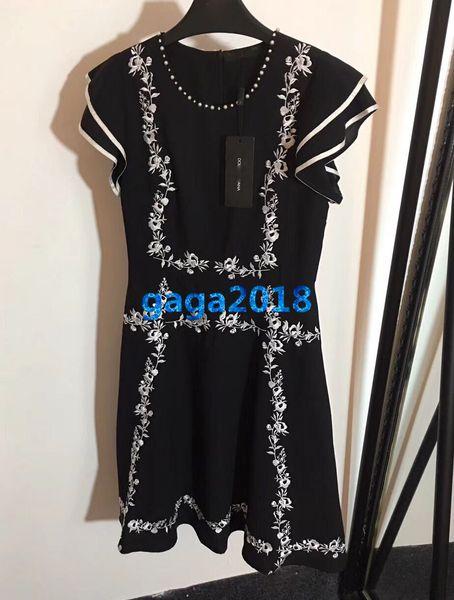 women girls shirt dress with embroidery floral motif crew neck short sleeve mini a-line midi skirts vintage high-end custom runway dresses