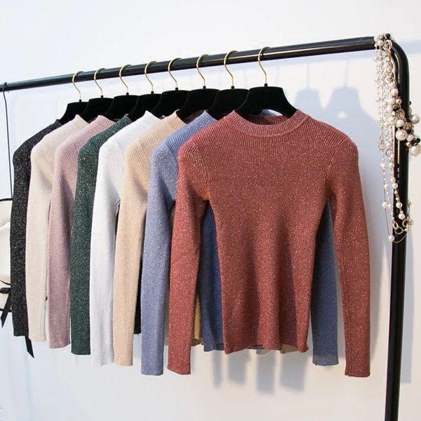 Saimishi Shiny gestrickten Pullover Frauen Grund Pullover Damen 2019 Herbst-Winter-Langarm-Pullover O-Ansatz Slim Fit Female Jumper