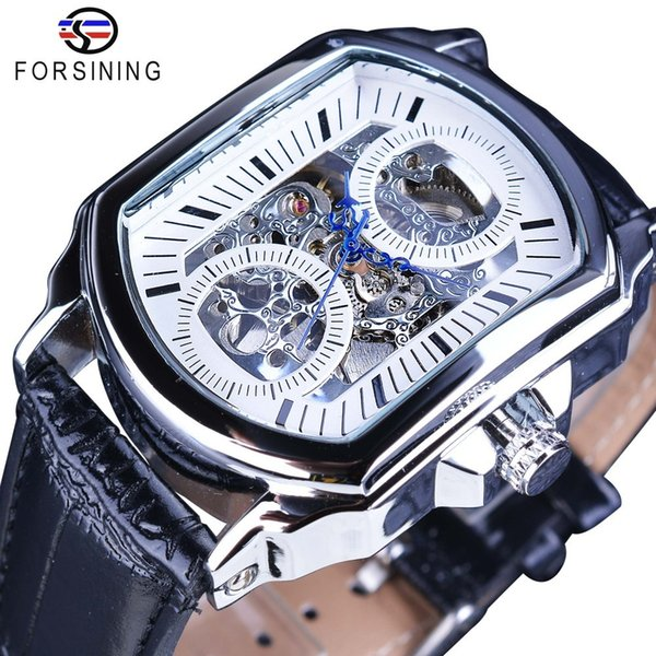 Forsining Retro Classic White Dial Blue Hands Transparent Automatic Skeleton Wristwatch Mens Mechanical Watches Top Brand Luxury J190614