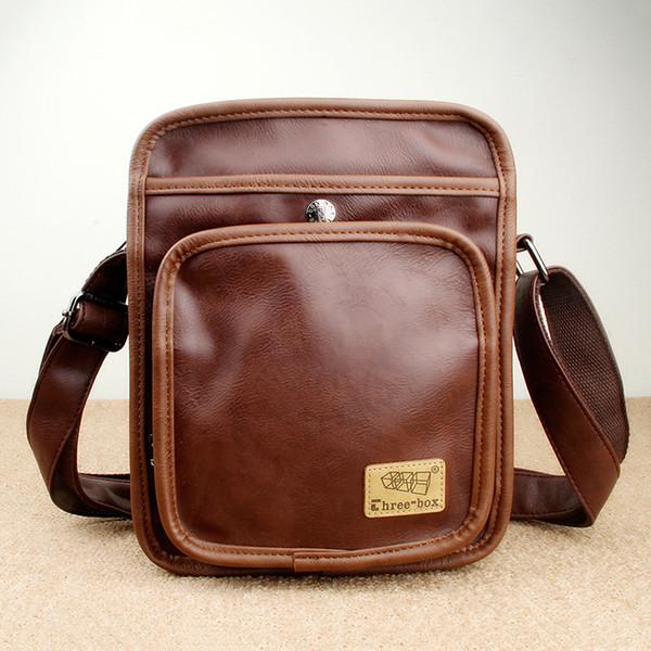Popular Japanese-Style Men Shoulder Bag Small Vertical Crossbody Bags Vintage Fashion PU Leather Men Messenger Bags