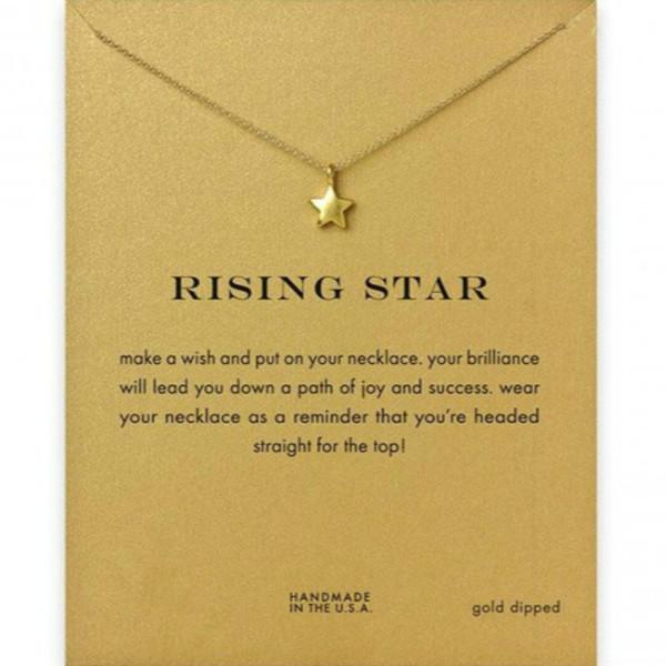 Pentagrama Colares de Prata Banhado A Ouro de Cinco-ponto Estrela Pingente Colares Com Cartão de Presente Mulheres Colares Moda Jóias