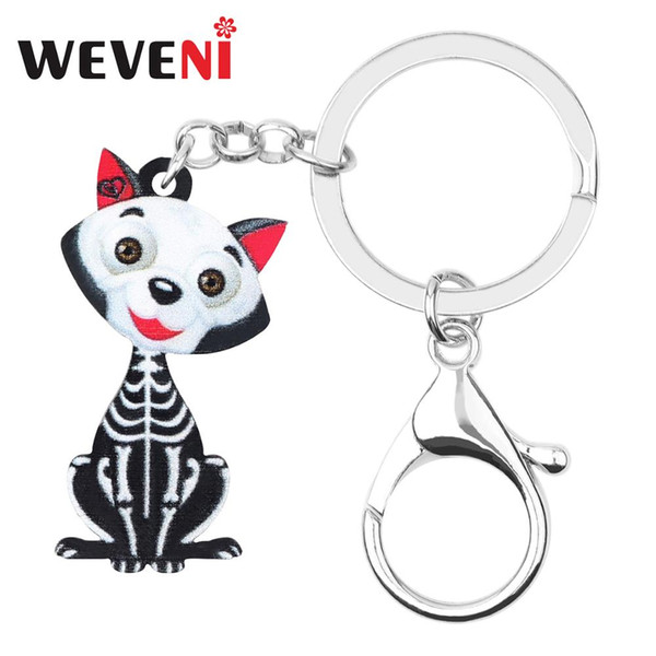 weveni acrylic halloween skull skeleton cat kitten key chains rings bag car wallet keychain women girl gift decoration accessory, Silver