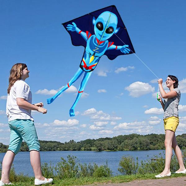 Outdoor Fun Sports Aquiloni Accessori 55inch X 37inch Alien Kite grande facile Aquilone con lo spago e gestire al meglio i regali per la vostra