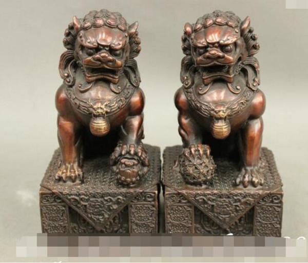 NEW Exquisit China FengShui Pure Bronze Guard Door Lion Fu Foo Dog Ball Statue Pair discount 30% (C0324)