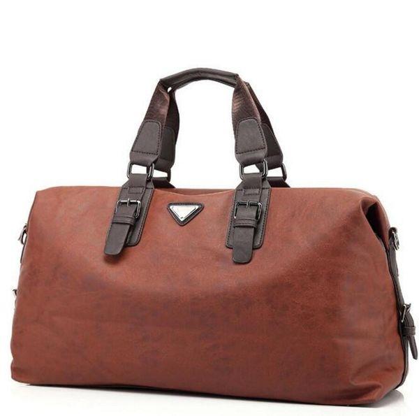 Waterproof Duffle Bags >> Leather Mens Travel Bags New Fashion Large Capacity Waterproof Duffle Bag Vintage Hand Luggage Shoulder Bag Garment Bags Kids Suitcases From