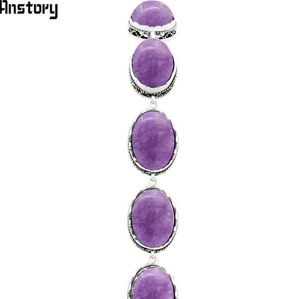 ashion Jewelry Bracelets Oval Natural Violet Amethysts Bracelet Vintage Strand Bracelet For Women Antique Silver Plated Hollow Bead Fashi...