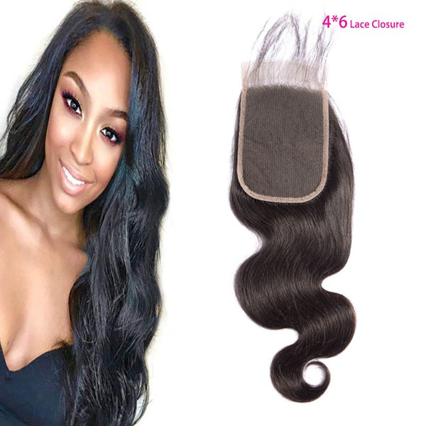 Malaysian Virgin Hair 4X6 Lace Closure Baby Hair Body Wave Human Hair Mink 9A Four By Six Closure Middle Three Free Part