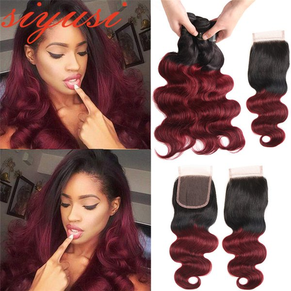 Colored Peruvian Virgin Hair 1B/99J Burgundy Ombre Human Hair Extensions With Closure Ombre Peruvian Body Wave 3 Bundles With Lace Closure