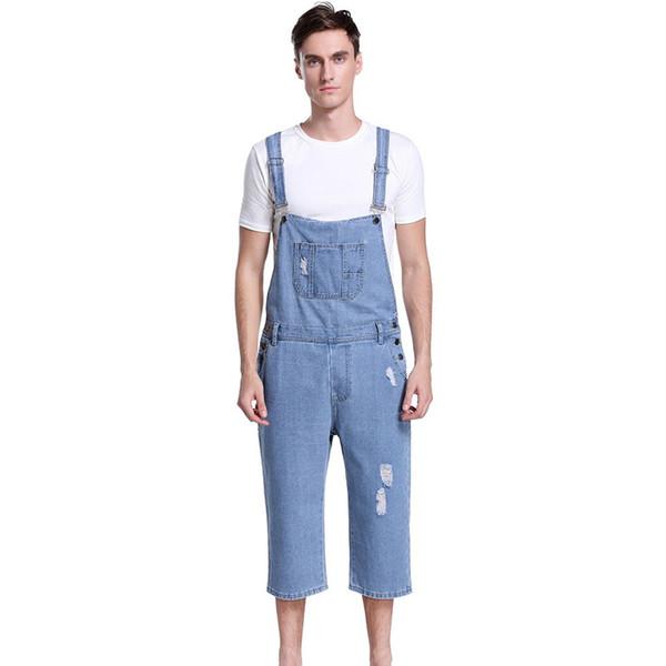 Puimentiua Men Suspenders Pant Cowboy Male Casual Fashion Pocket 5 Minutes Of Short Plus Size Fit Jumpsuit Boy's Jean For Summer