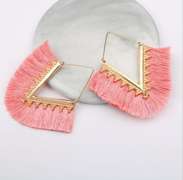 best selling Fashion Trendy Ethnic Bohemian Tassel Earrings for Women V Shape Handmade Colorful Big Hoop Statement Earrings Jewelry
