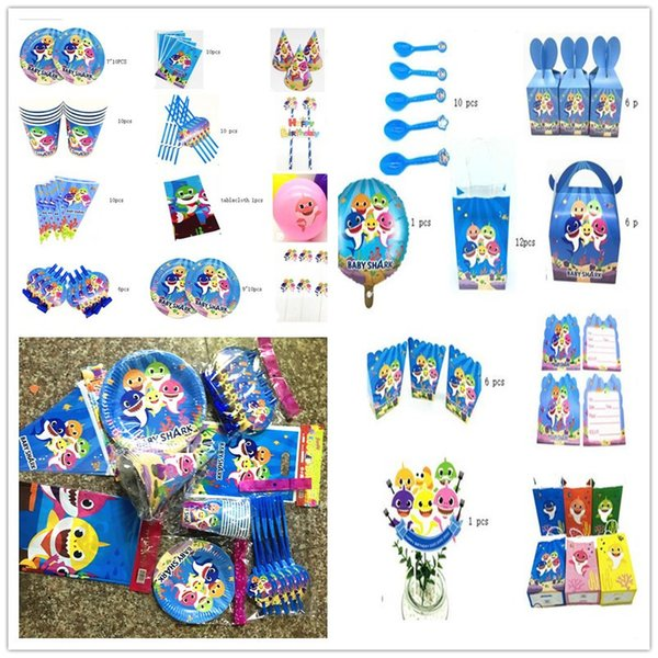 Baby Shark Party Supplies Kids Birthday Party Decoration Straws Cup Banner Decora for Enfant Boy Girl Theme Ideas Tableware Set 195pcsA52102