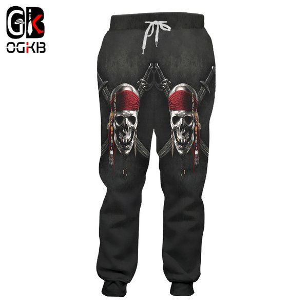 OGKB Unisex Hiphop Casual Sweat Pants Fall Winter Elastic Waist Full Length Joggers Haren Pants 3d Print Knife Skull Sweatpants