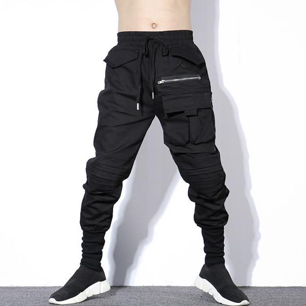 Otoño Invierno Negro Lápiz Plisado Pantalones Harem Hombres Tallas grandes Pantalones HipHop Hombres Con Grandes Bolsillos Cremallera Coreano Streetwear