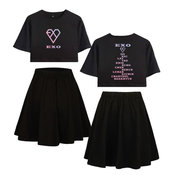 Hot selling fashion trend EXO Korean combination surrounding sexy navel women short sleeve T-shirt short skirt suit