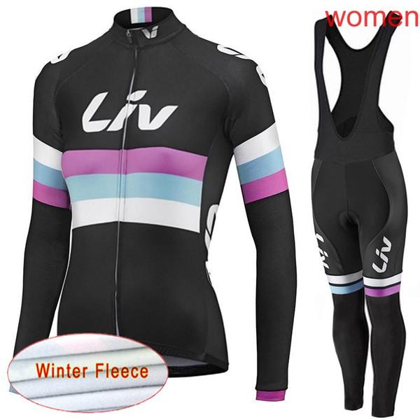 LIV Team Cyclisme Vêtement de sport à manches longues pour femme, Vélo hiver en laine polaire thermique, ensemble de pantalons en jersey, Vêtements de vélo, Combinaison-pantalon, Mountain Bicycl