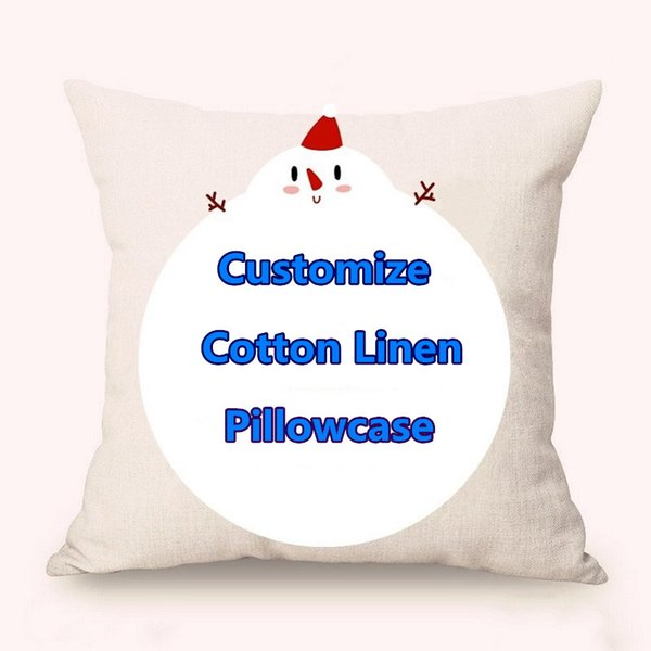 """top popular Free Customized Pillow Covers Cotton Linen Festival Gifts Digital Printing Pillowcase Advertising Gifts Sofa Cushion Covers 18"""" 75-80g 2019"""