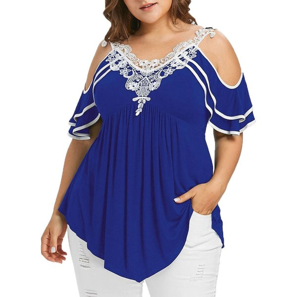 Summer Womens Plus Size Blouses Streetwear Cold Shoulder Lace Tops Short Tunic Ladies Top Casual Clothing