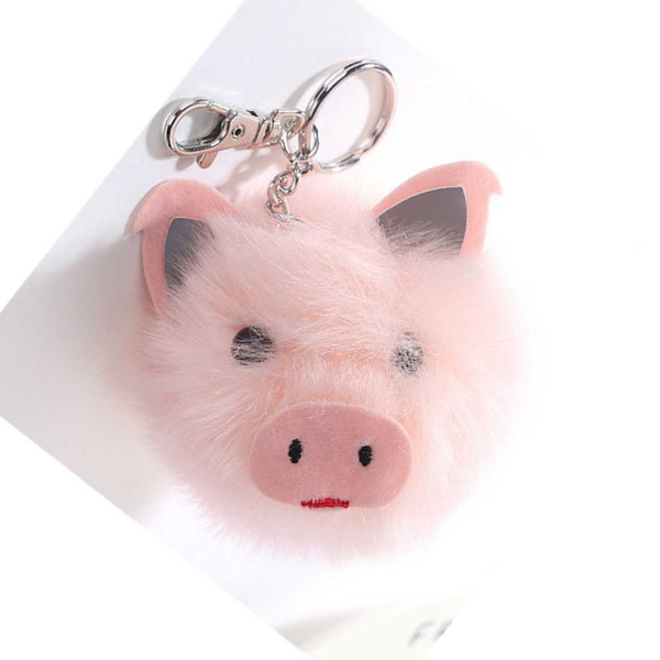 Approx 8cm Cute Pig Keyring Accessories Fake Fur Ball Key Pink Pig Key  Rings Fluffy Bag Charms Auto Keys Auto Keys Cut From Pubao, &Price