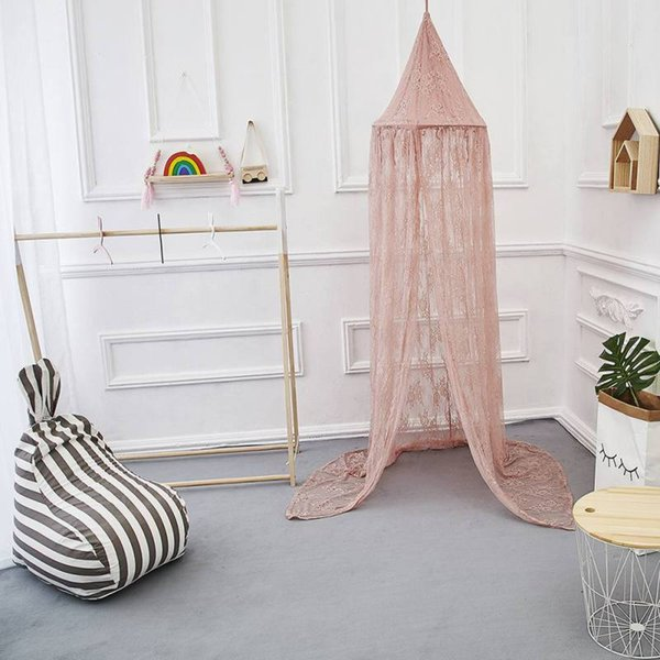 Ins Style Nursery Room Hanging Lace Bed Canopy Dome Hanging Mosquito Net for Girls Room Fairytale Decoration