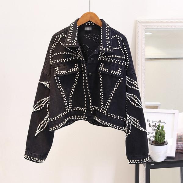 Spring Autumn Short Denim Jacket Women Balck Handmade Rivet Beaded Denim Coat Streetwear Loose Oversize Coat