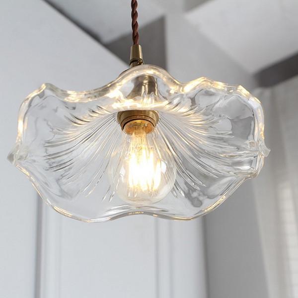 home decor flower shape hanging lamp led art design lustre clear glass lampshade chandelier lighting