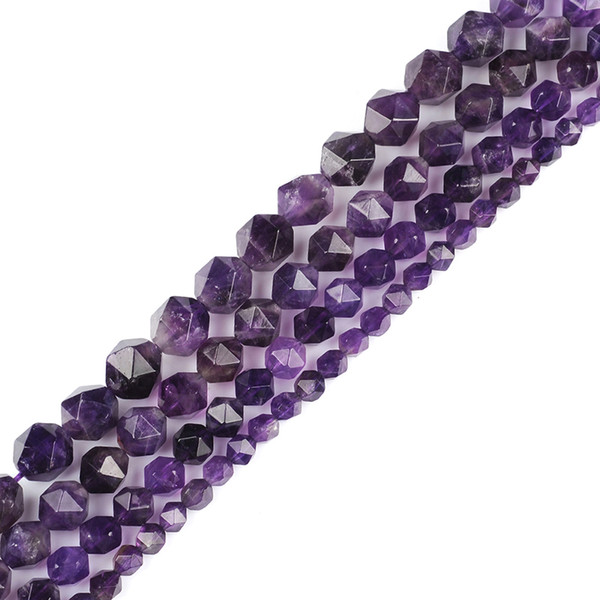6mm 8mm 10mm 12mm AAA Grade Faceted Amethysts Stone Beads Natural Stone Beads DIY Loose Strand Beads Jewelry Making For Bracelet