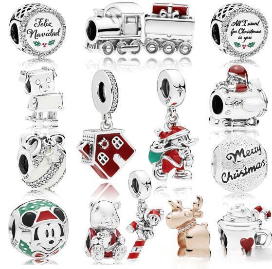 Perlas de plata esterlina con cuentas circulares transparentes sueltas se adapta a las pulseras Pandora al por mayor 15 colores 2018 invierno más nuevos regalos de Navidad