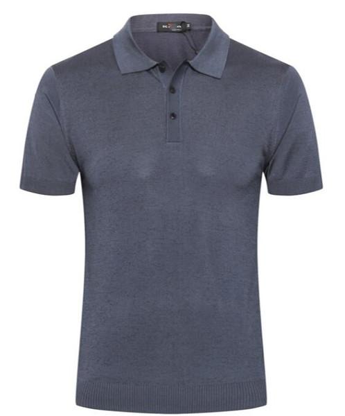 Ki**n men's T-shirt short-sleeved 2019 summer new fashion comfortable silk breathable embroidery European version large size zipper