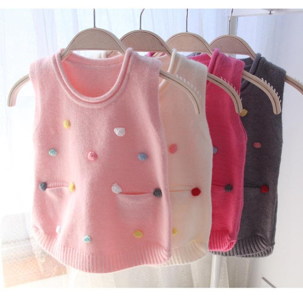 Infantile pour bébé tout-petits filles chandail de laine Gilet avec des boules de coton enfants bébé Gilet en tricot TOPS enfants Vêtements d'automne