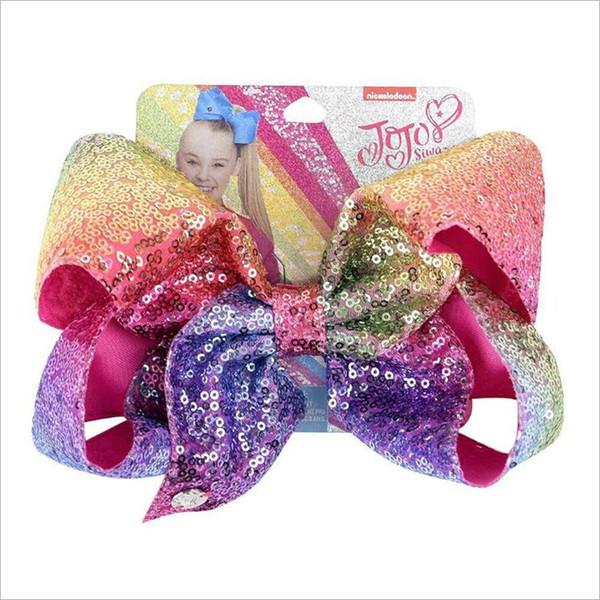 30 Colors 8 inch JOJO bow girl hair bows Sequins Cute Design Girl Clippers Girls Hair Clips JOJO SIWA Hair Accessories FJ363