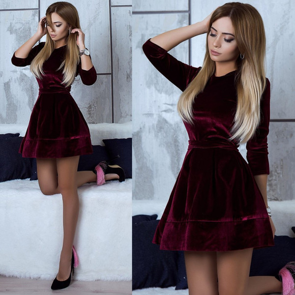Women's Vintage Autumn Casual Dress for Lady Fashion Long-Sleeve Slim Suit Collar Solid Color Sexy Crew Neck Dress Size S-XL