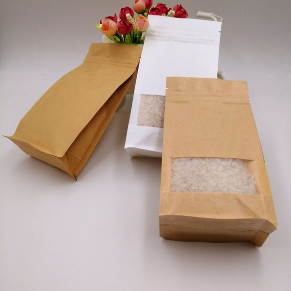 12x22x6cm 50pcs White/Brown Kraft Paper Bag For Gifts Christmas Food Tea Candy Zip Lock Kraft Paper Bag With Window Stand Pouch