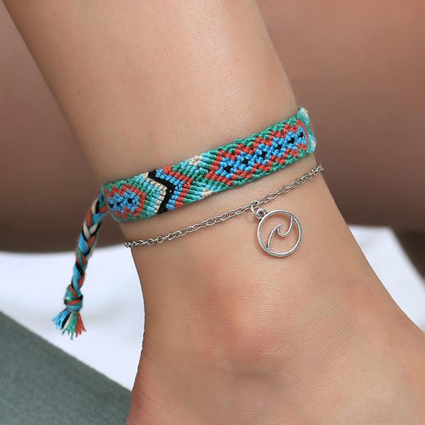 Venta caliente Popular Summer Beach doble ola circular tobilleras estilo popular hecho a mano tejido joyería del pie envío gratis
