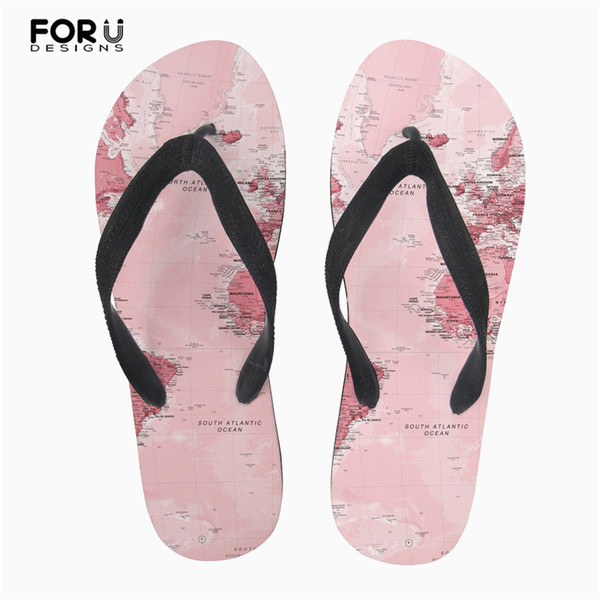 FORUDESIGNS Flip Flops Women Summer 2019 Fashion 3D Retro Map Design Casual House Room Ladies Slippers Rubber Soft Girls Sandals