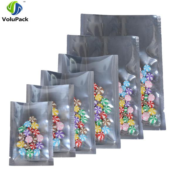Variété de tailles Clear / Argent de Tear chaleur Notch d'étanchéité Sacs emballage sous vide Mylar Flat Open Top Sac pochette