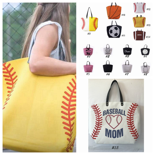best selling 15 Styles Canvas Bag Baseball Tote Sports Bags Casual Softball Bag Football Soccer Basketball Cotton Canvas Tote Bag ZZA1679