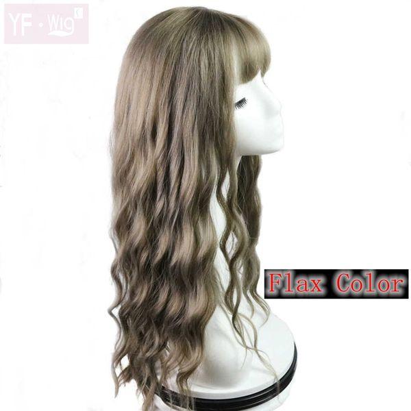 Perruques de vagues synthétiques de couleur de lin longues perruques de vagues bouclées Vente chaude haute densité température perruque synthétique pour les femmes noires / blanches