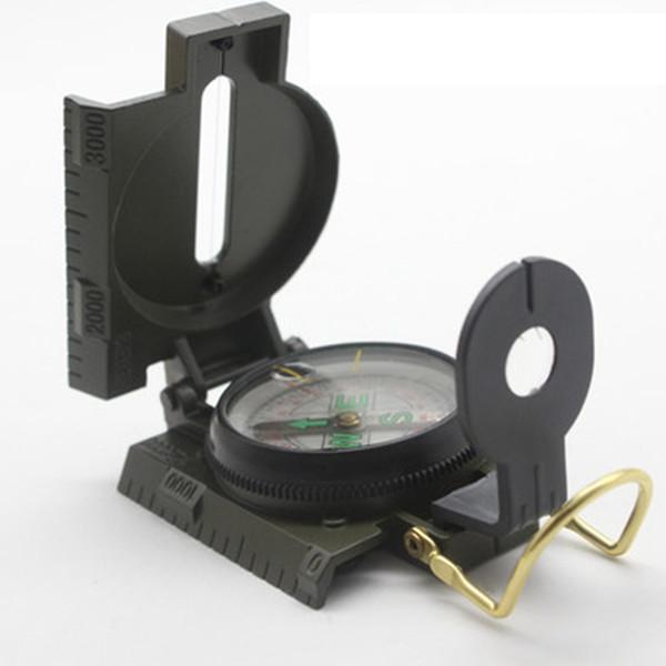 Portable Folding Lens Compass Amerikanisches Militär im Freien Mehrzweckmetall echter Kompass Offroad Camping Wandern Zeige Kompass LJJZ488