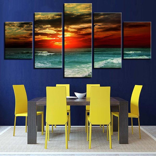 Modern Canvas 5 Piece Sunset Sea Waves Scenery Pictures HD Printed Wall Art Frame Living Room Home Decoration Painting Poster