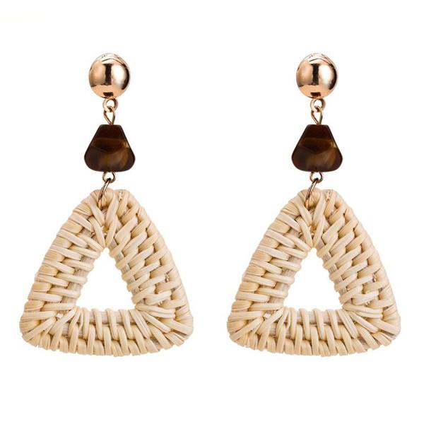 New Hot Fashion Bamboo Rattan Straw Weave Earrings For Women Handmade Triangle Long Drop Dangle Earring Female Brincos Gift
