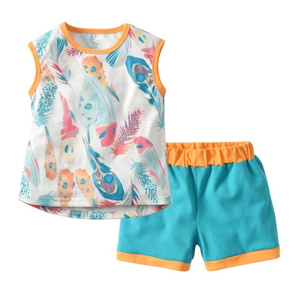 Ins Summer new Girls Outfits Baby Girl Suit Cartoon cotton kids sets Vest+Shorts baby girl clothes kids designer clothes Best Suits A4784