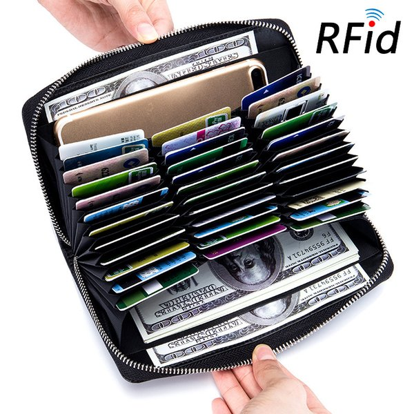Women Men RFID Blocking Genuine Leather Travel Business Wallets Credit Card Case Holder Passport ID Credit Cards Holders